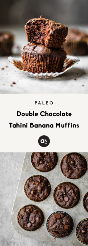 collage of paleo double chocolate tahini banana muffins