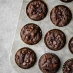 paleo double chocolate tahini banana muffins