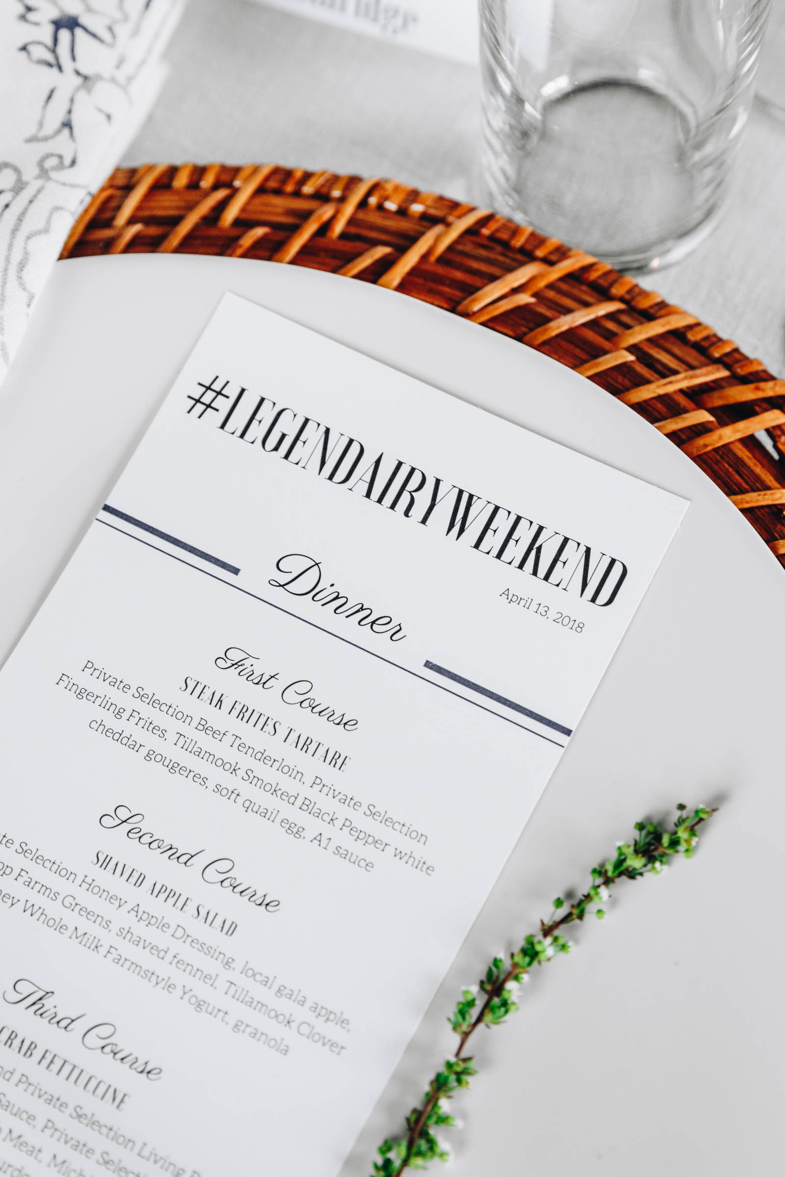 white dinner menu on a place setting