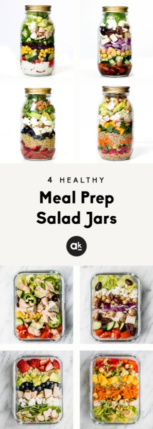collage of four healthy meal prep salad jars