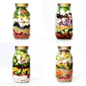 four healthy meal prep salads in mason jars