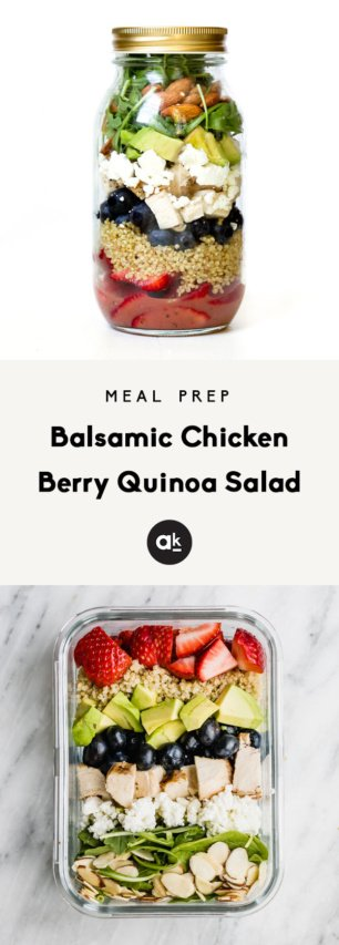 collage of chicken berry quinoa salad