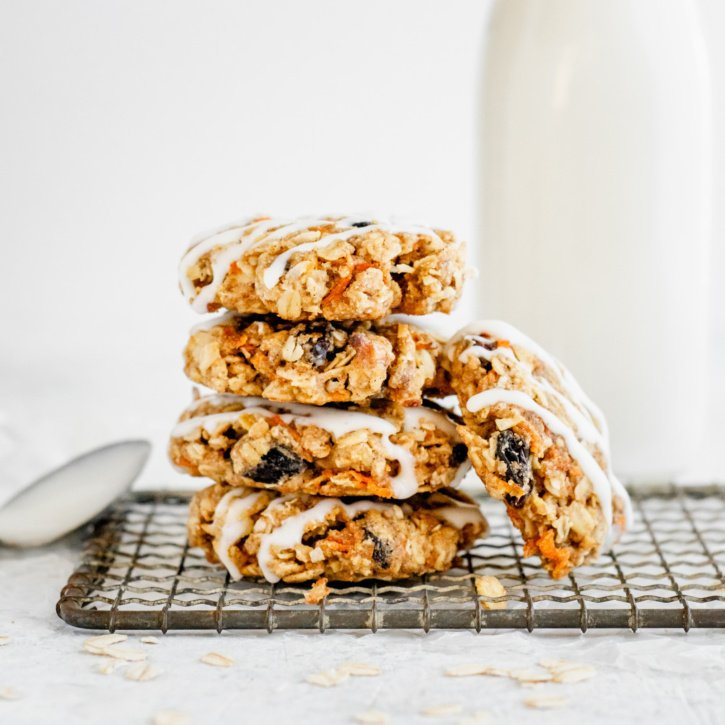 healthy carrot cake cookies in a stack