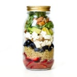 chicken quinoa berry salad in a mason jar