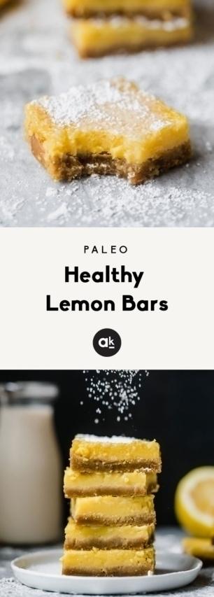 collage of healthy lemon bars