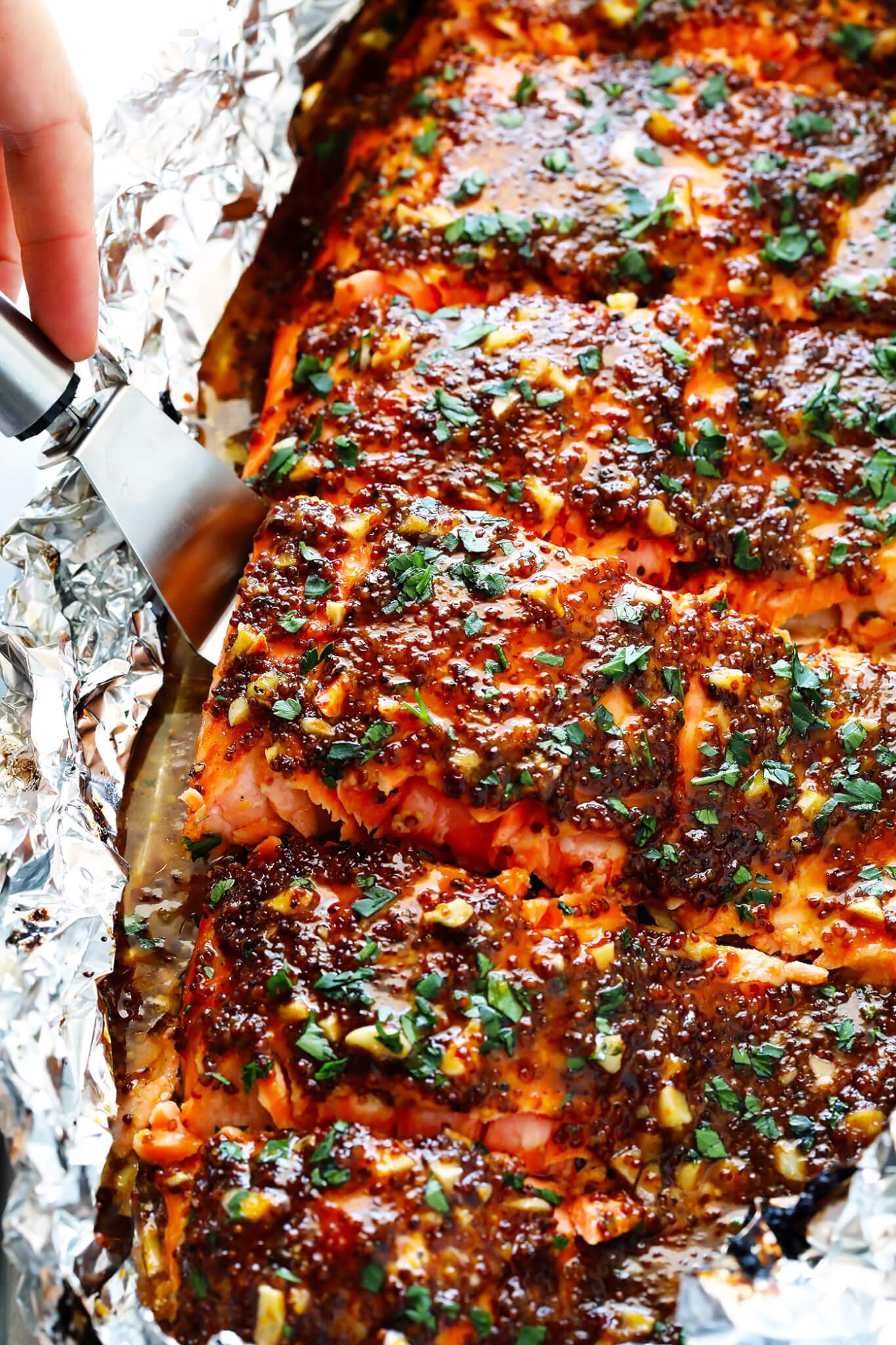 Honey Mustard Salmon in Foil | Gimme Some Oven