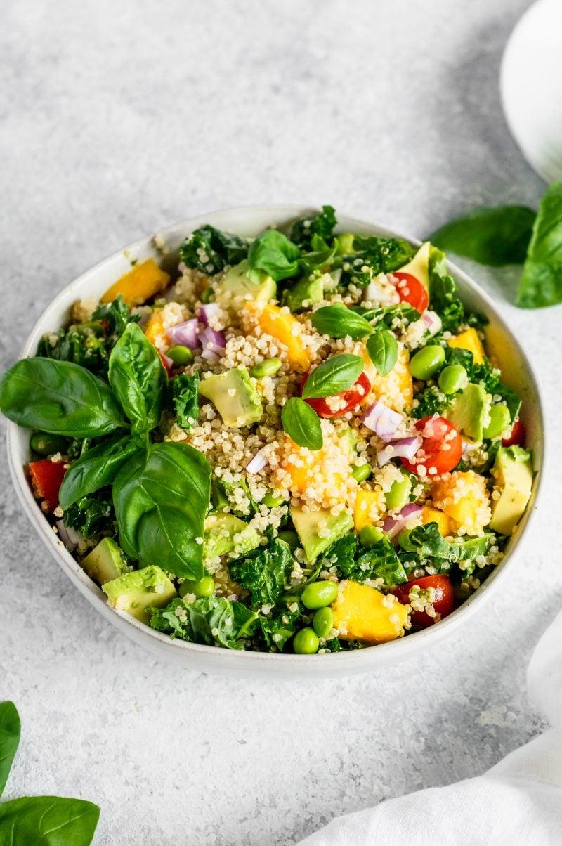 easy quinoa salad recipes: mango edamame quinoa salad in a bowl
