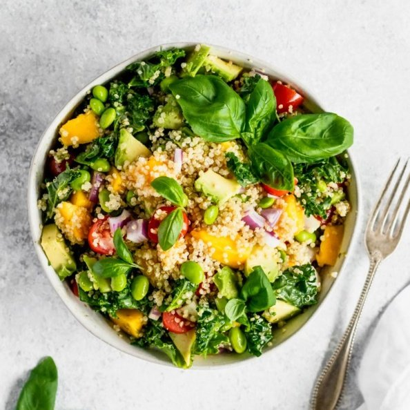 Kale, edamame and quinoa salad in a bowl
