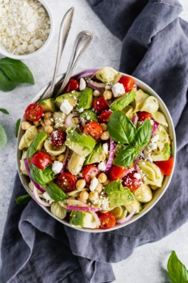 mediterranean chickpea pasta salad in a bowl