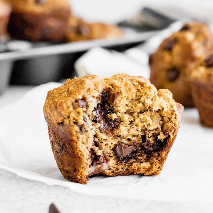 Healthy banana muffins with chocolate chips for a little indulgence. The greek yogurt adds protein and keeps the muffins moist. You'll love these easy banana muffins -- made without butter or refined sugar!This is the only banana muffin recipe you'll ever need!