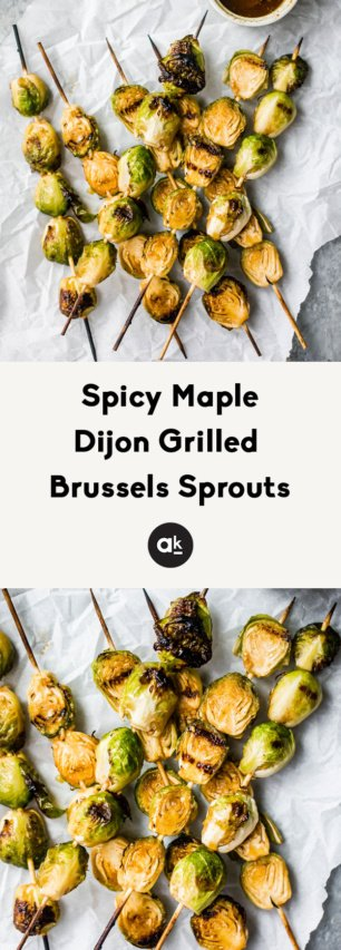 collage of spicy maple grilled brussels sprouts