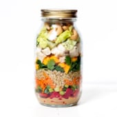 thai chicken quinoa salad in a mason jar