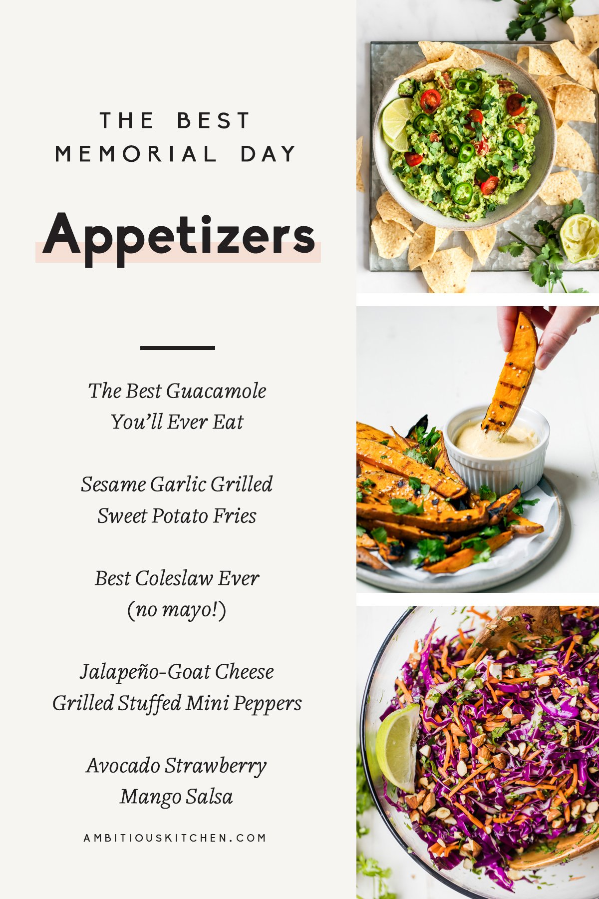 collage of memorial day appetizers with text overlay