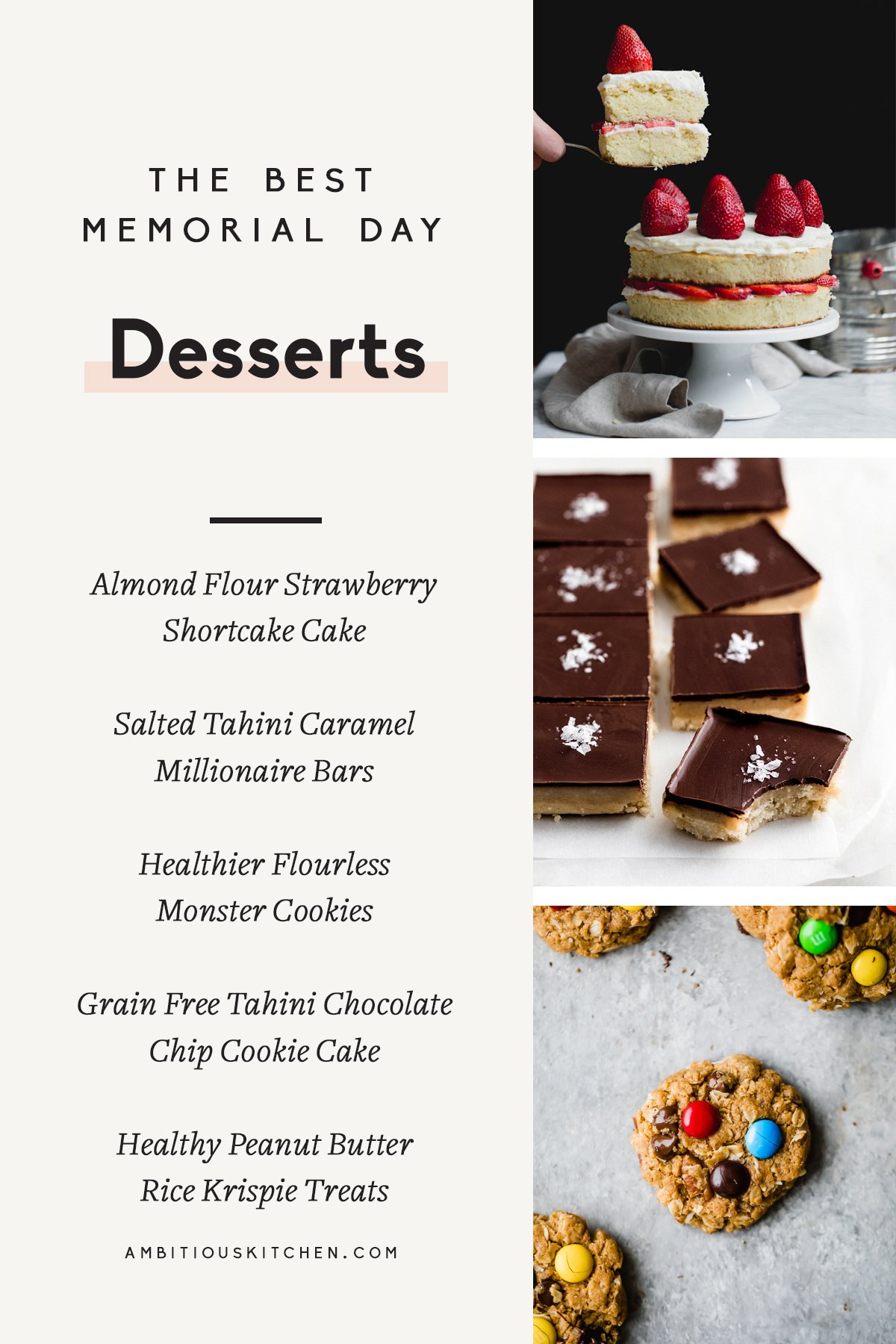 collage of memorial day desserts with text overlay