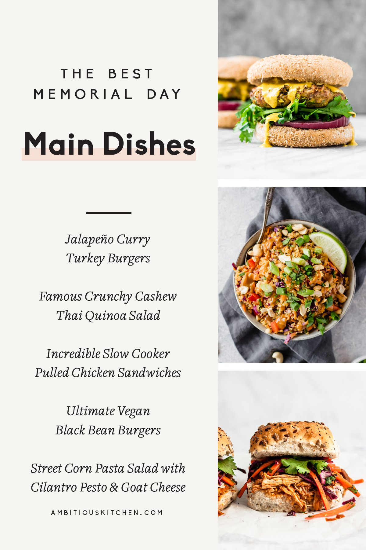 collage of memorial day main dishes with text overlay