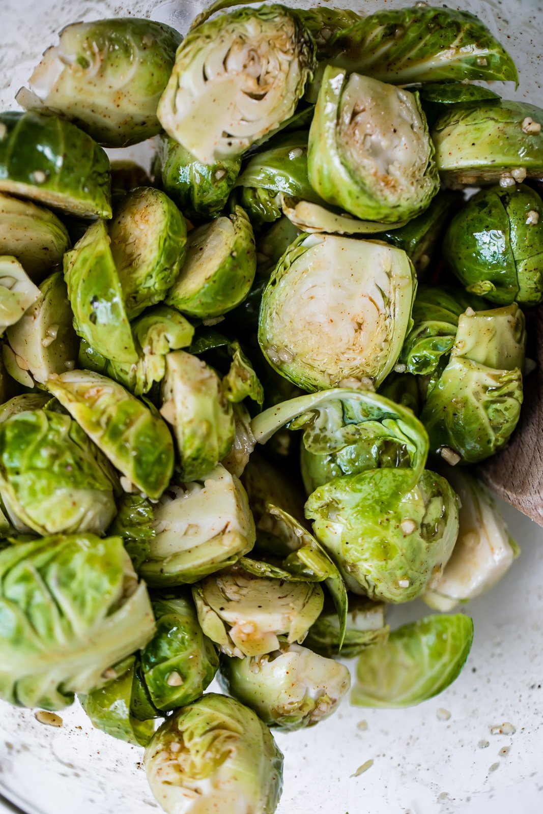 Spicy maple grilled brussels sprouts in a bowl