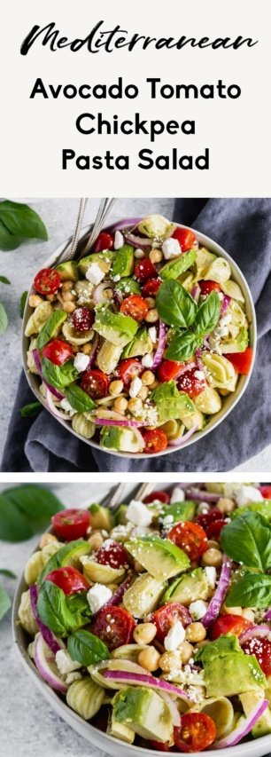 collage of mediterranean chickpea pasta salad