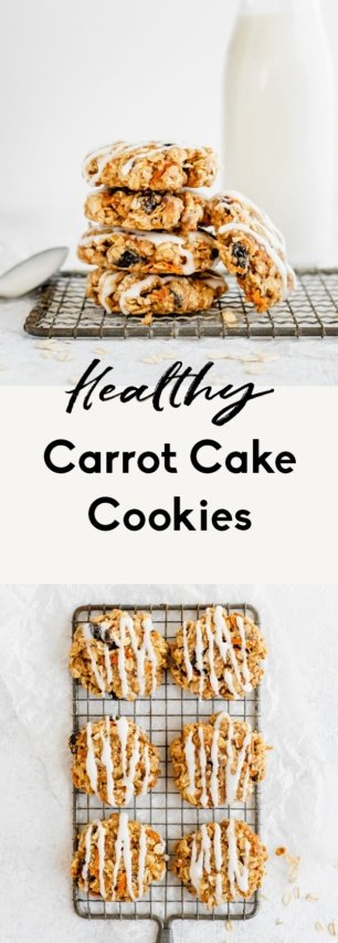 collage of healthy carrot cake cookies