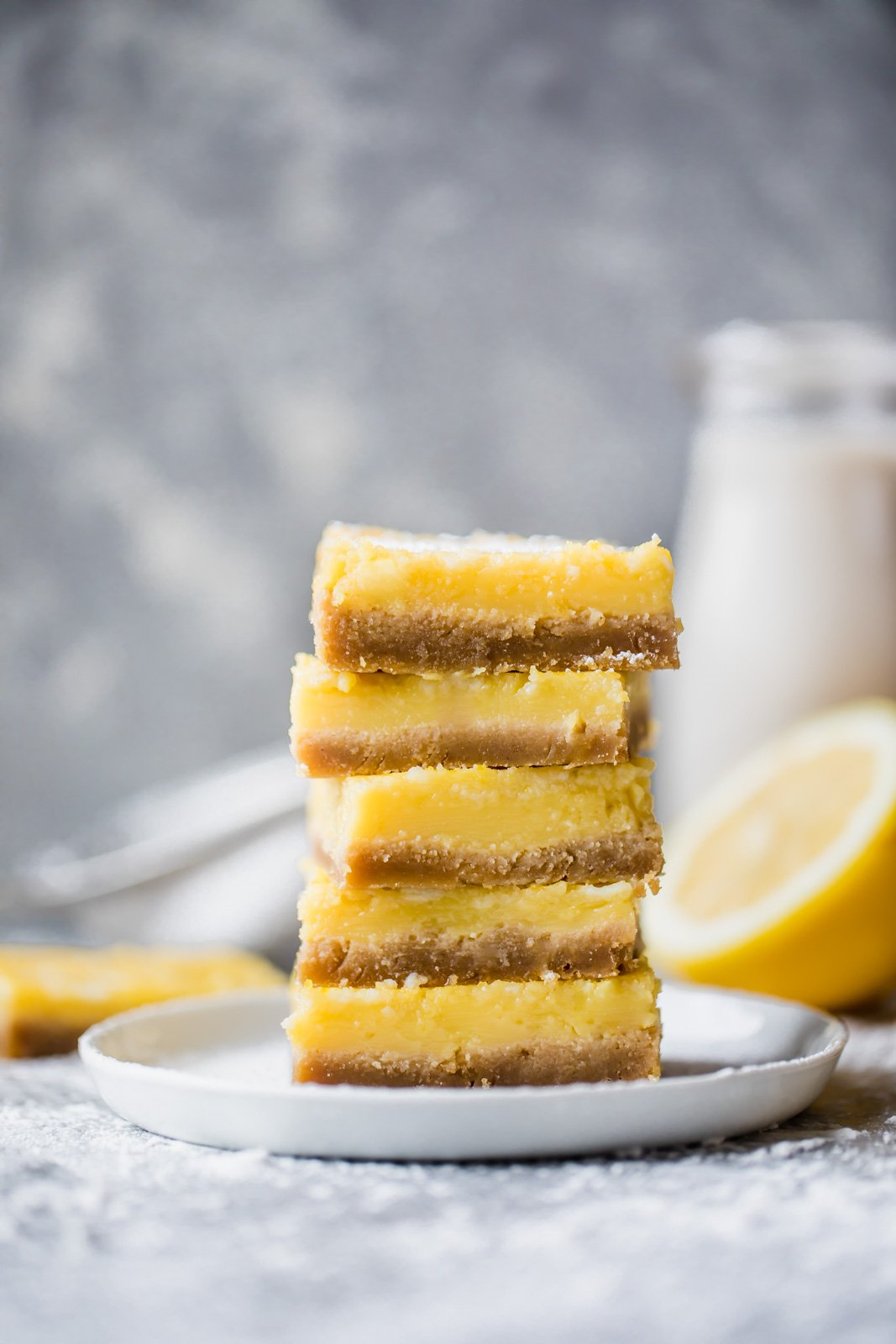 Healthy lemon bars in stack on a plate