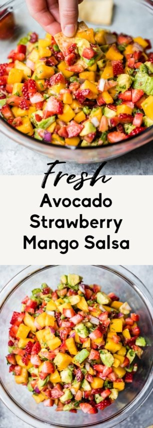 collage of strawberry mango salsa with avocado