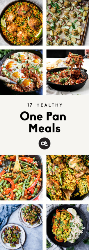 collage of healthy one pan meals