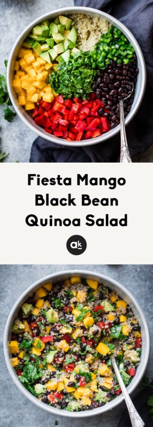 collage of mango black bean quinoa salad