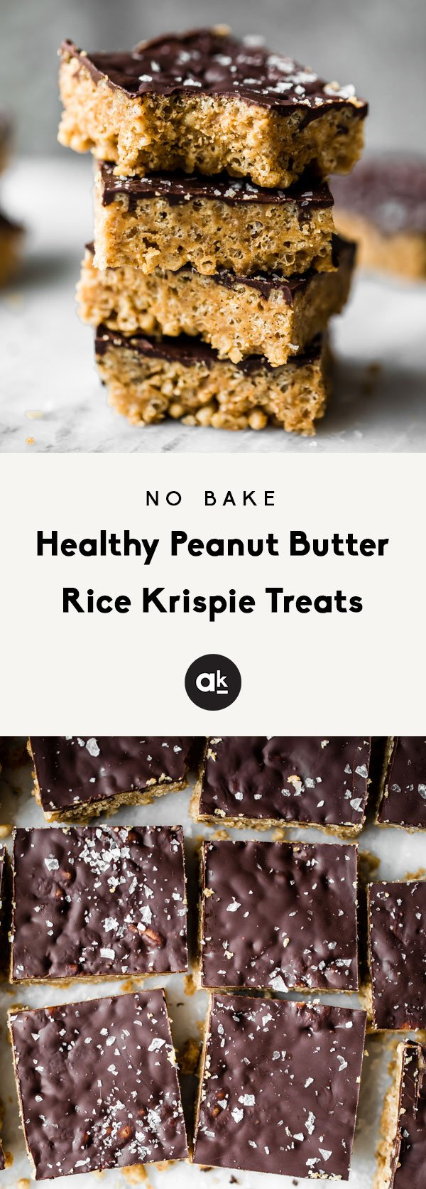 Healthy Rice Krispie Treats made with peanut butter, coconut oil, maple syrup and brown rice krispies. These vegan and gluten free treats are topped with dark chocolate and sea salt for an indulgent treat that tastes just like a crunchy peanut butter cup. Options to add a bit of protein powder to make these a great post workout treat!