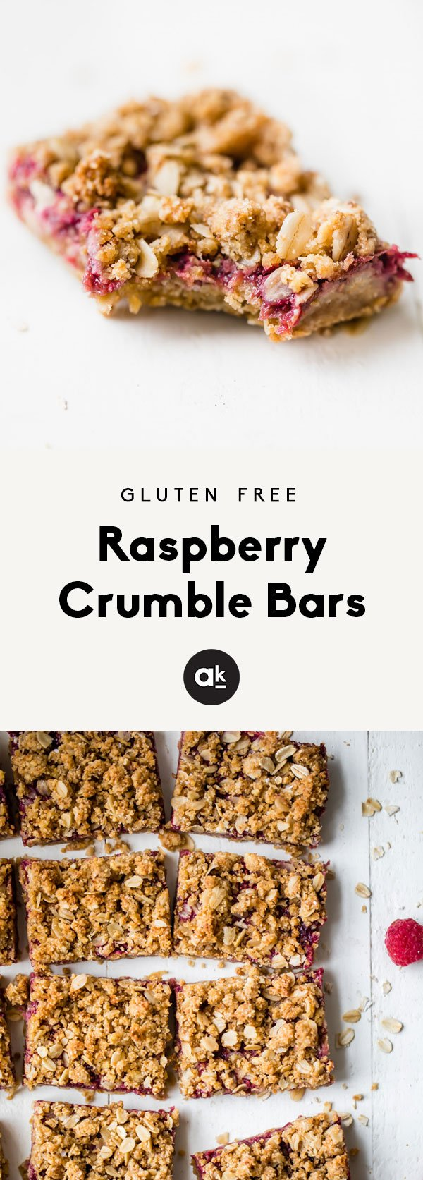 Healthy, gluten free fresh raspberry crumble bars made with a fresh raspberry jam. This healthy dessert is easy to make, and perfect for using up your summer raspberries!