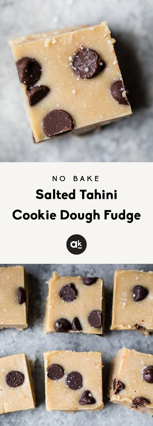 No bake healthy cookie dough fudge made with just three simple ingredients — tahini, coconut oil, maple syrup and salt. This absolutely delicious and easy low carb dessert with be your new favorite treat to keep in the freezer!