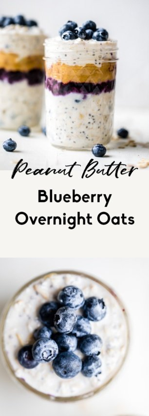 collage of blueberry overnight oats