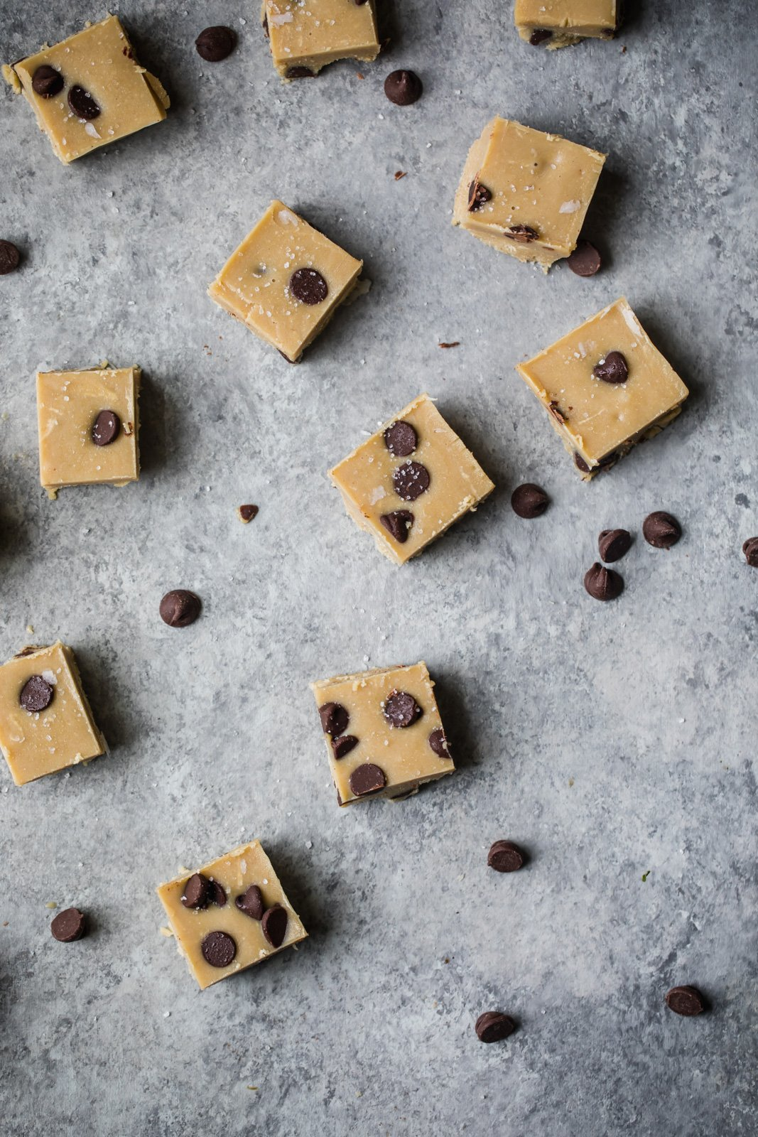 No bake healthy cookie dough fudge on a grey board