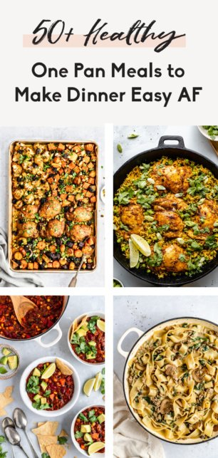 collage of one pan meals