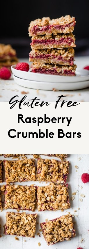 collage of healthy raspberry crumble bars