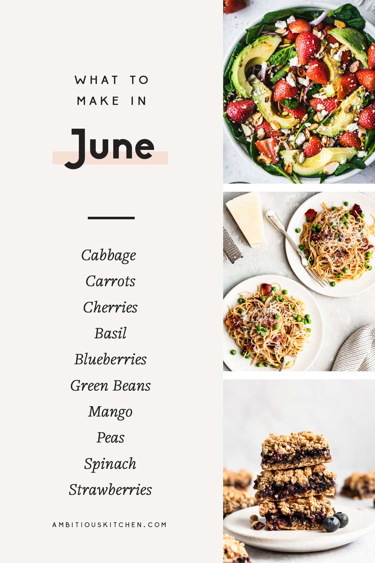collage of seasonal recipes to make in june with text overlay