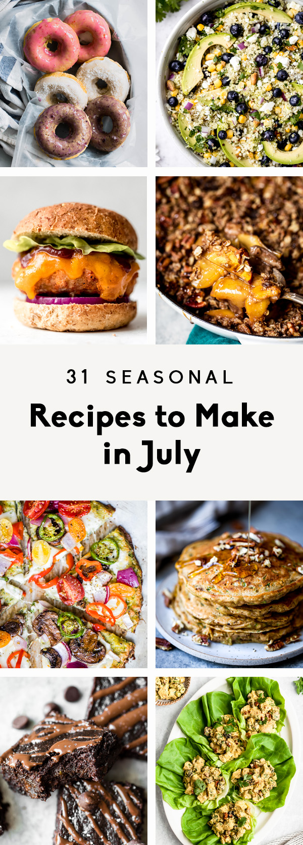 collage of seasonal recipes to cook in july with text overlay