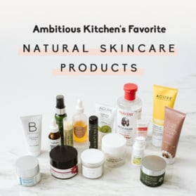 natural skincare products with text overlay