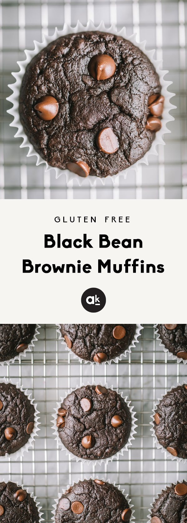 Flourless black bean muffins that taste like a delicious, cakey brownie! These easy, fiber packed muffins are gluten free and the perfect healthy treat.