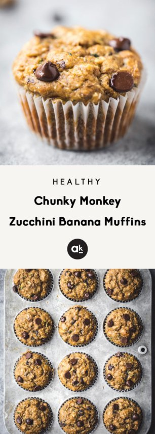 collage of healthy zucchini banana muffins