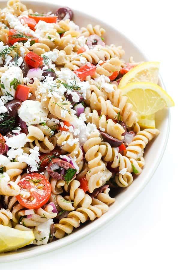 healthy pasta salad recipe with tomatoes, feta, and lemon