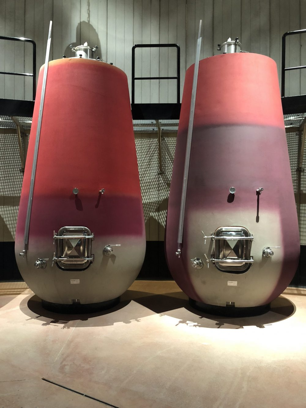 two pink and purple wine structures