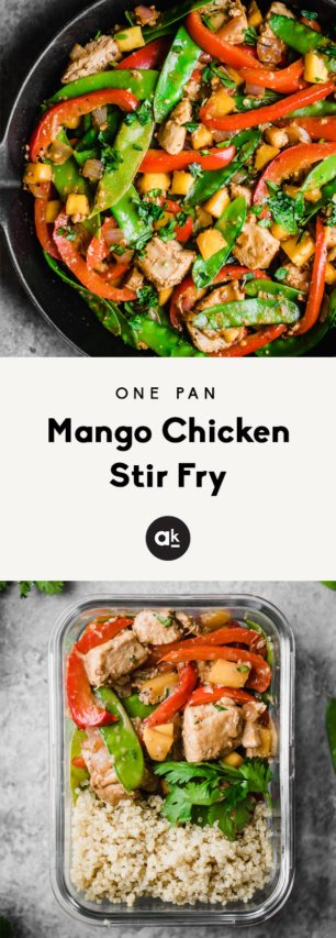 collage of mango chicken stir fry