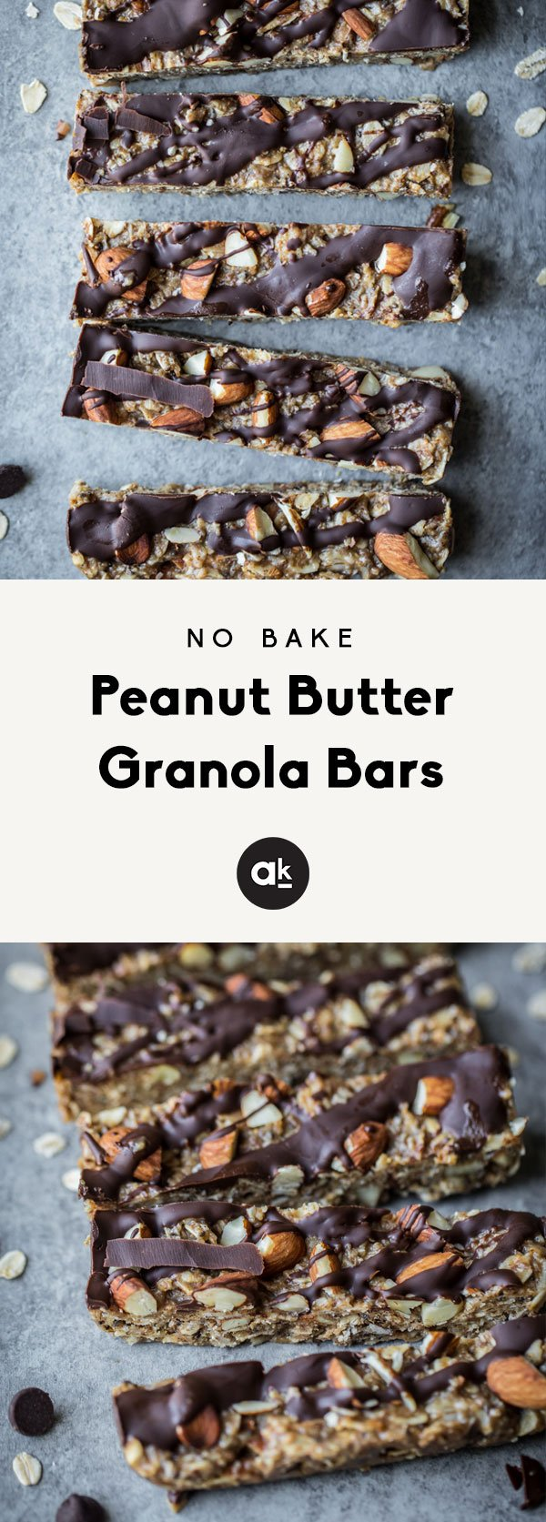 Homemade healthy no bake peanut butter granola bars will be your new favorite snack. These chewy granola bars are packed with wholesome ingredients like peanut butter, honey, chia seeds, flax, almonds, and drizzled with dark chocolate. YUM.