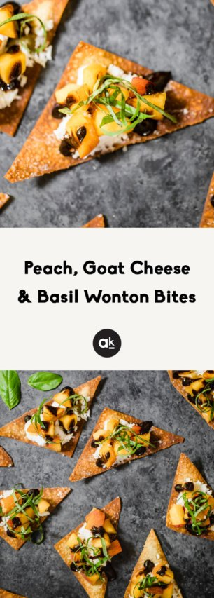 collage of peach and basil wonton bites