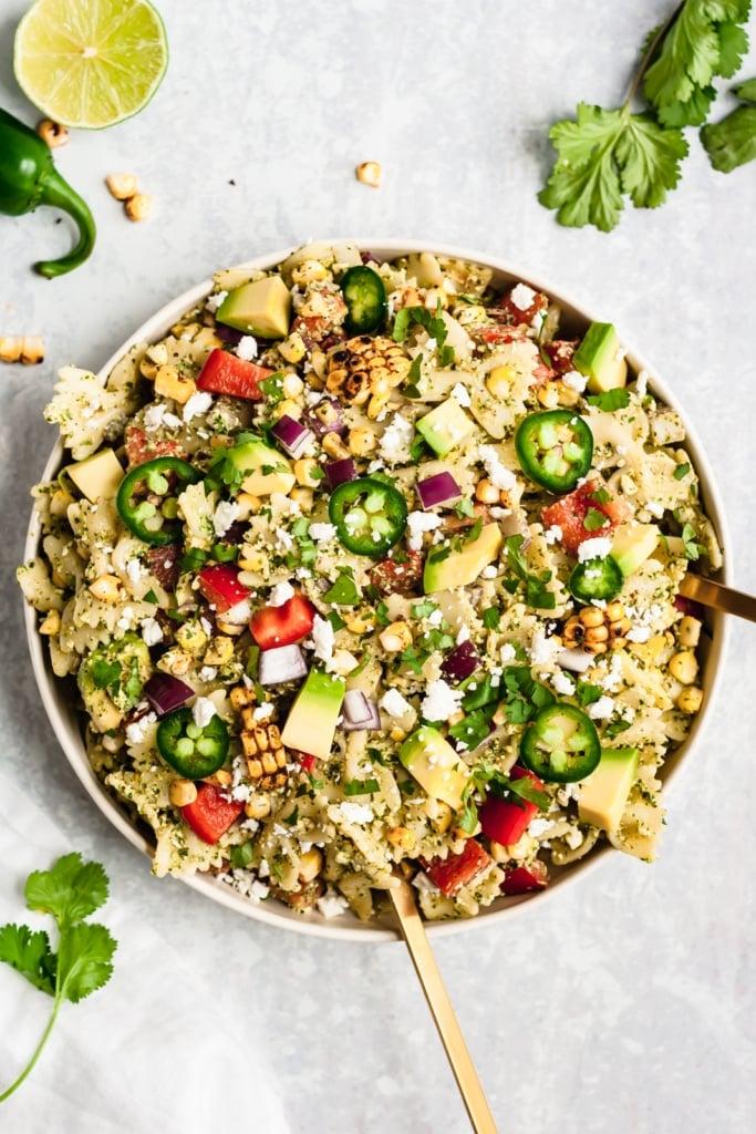 street corn pasta salad in a bowl