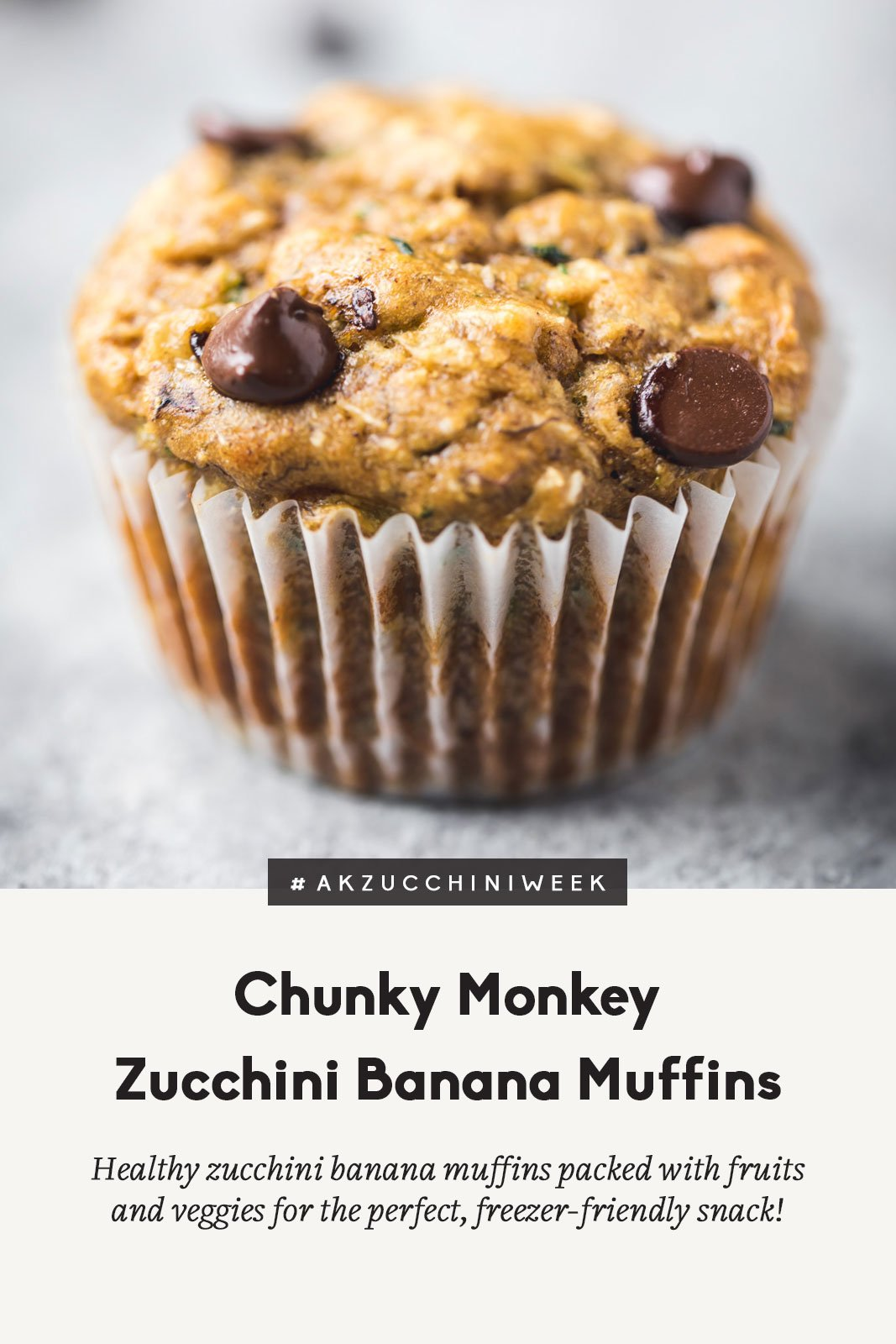 Healthy zucchini banana muffins with text overlay