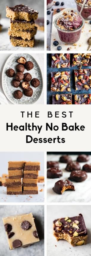 collage of healthy no bake desserts