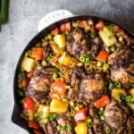One Pan Caribbean Jerk Chicken with Pineapple-Coconut Rice