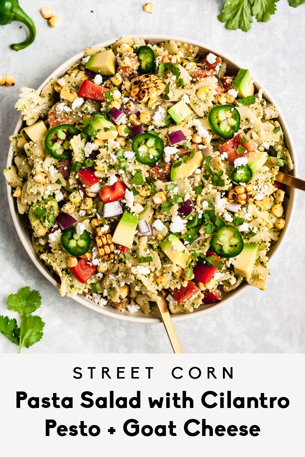 street corn pasta salad in a bowl with text overlay