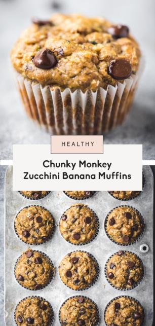 collage of zucchini banana muffins