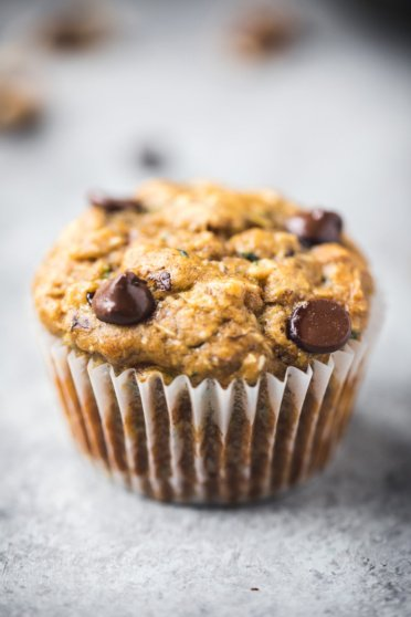 Healthy zucchini banana muffin with chocolate chips